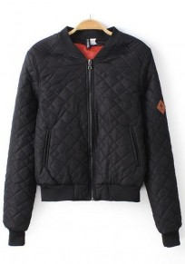 Black Plain Zipper Padded Coat