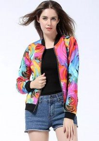Multicolor Floral Print Trench Coat