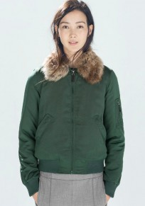 Green Patchwork Fur Paddad Coat
