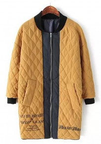 Khaki Monogram Print Patchwork Padded Coat