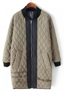 Grey Monogram Print Patchwork Padded Coat