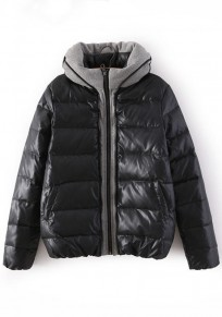 Black Plain Patchwork Padded Coat