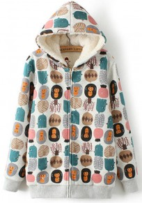 Grey Cartoon Print Hooded Padded Coat