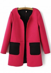 Rose-Carmine Plain Patchwork Pockets Coat