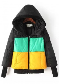 Green-Yellow Patchwork Hooded Padded Coat