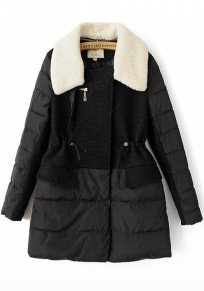 Black Plain Drawstring Patchwork Padded Coat