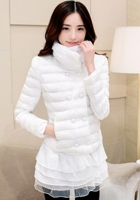 White Plain Cascading Ruffle Puff Sleeve Padded Coat