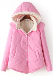 Pink Plain Hooded Cute Padded Coat