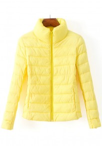 Yellow Plain Zipper Band Collar Padded Coat