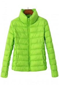 Green Plain Zipper Band Collar Padded Coat