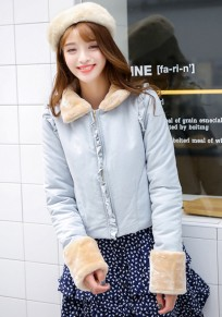 Blue Plain Falbala Padded Coat