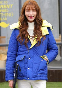 Blue-Yellow Plain Pockets Hooded Padded Coat