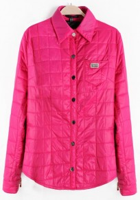 Rose-Carmine Plain Single Breasted Padded Coats