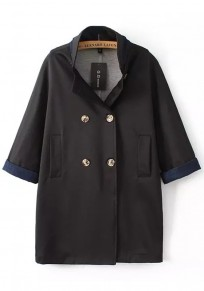 Black Plain Pockets Double Breasted Trench Coat