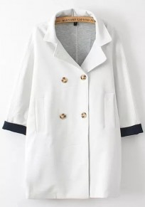 White Plain Pockets Double Breasted Trench Coat