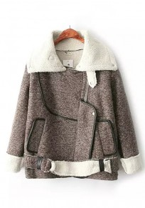 Brown Patchwork Belt Padded Coat