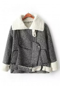 Grey Patchwork Belt Padded Coat