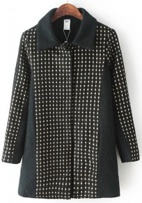 Black Patchwork Bright Wire Wool Coat