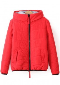 Red Plain Hooded Padded Coat