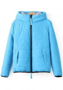 Sky Blue Plain Hooded Padded Coat