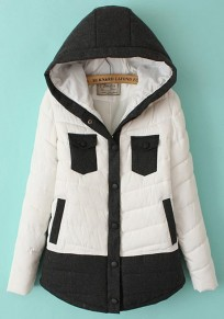 White Patchwork Pockets Collar With Hat Padded Coat