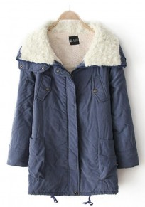 Jean Blue Plain Fur Padded Coat