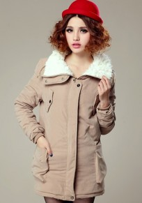 Khaki Plain Fur Padded Coat