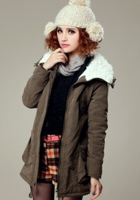 Army Green Plain Fur Padded Coat