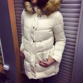 White Plain Pockets Single Breasted Hooded Padded Coat