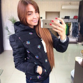 Black Snowflake Print Pockets Zipper Hooded Fashion Padded Coat
