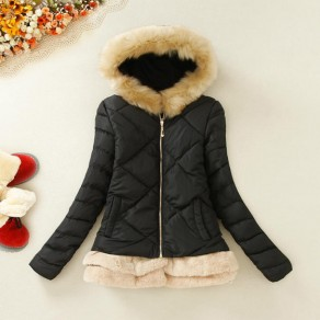 Black Patchwork Pockets Hooded Zipper Padded Coat
