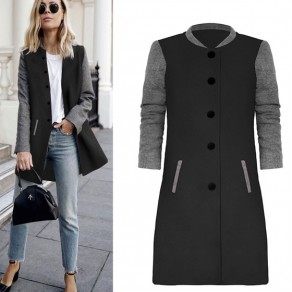 Black Patchwork Print Round Neck Single Breasted Casual Coat
