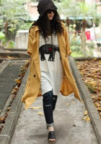Yellow Plain Buttons Pockets Trench Coat