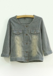 Blue Striped Pockets Trench Coat