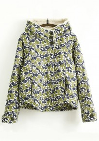 Navy Blue Floral Print Hooded Cute Padded Coat
