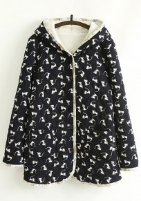 Navy Blue Cat Print Pockets Hooded Padded Coat