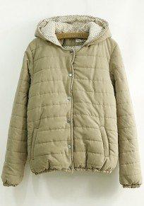 Khaki Plain Pockets Hooded Cute Padded Coat