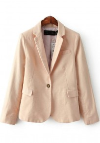 Pink Plain Pockets Notch Lapel Blazer