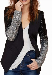 Black Patchwork Sequin Fashion Suit