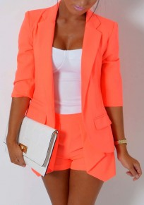 Orange Notch Lapel 3/4 Sleeve Casual Slim Blazer