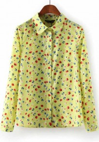 Yellow Cherry Print Long Sleeve Wrap Chiffon Blouse