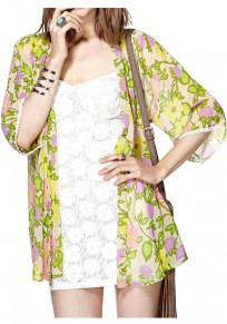 Multicolor Floral V-neck Half Sleeve Loose Polyester Blouse