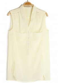 Beige V-neck Sleeveless Buttons Pockets Chiffon Blouse
