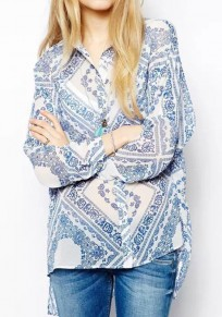 Blue-White Print Pockets Chiffon Blouse