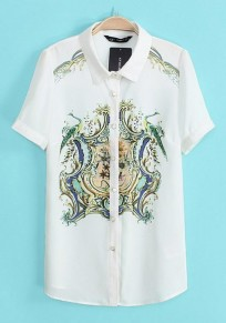 White Print Short Sleeve Chiffon Blouse