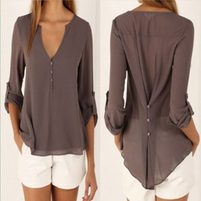 Grey Plain Irregular V-neck Long Sleeve Fashion Blouse