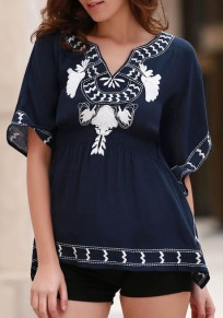 Navy Blue Floral Embroidery V-neck Fashion Cotton Blend Blouse