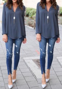 Grey Plain Irregular V-neck Long Sleeve Casual Blouse