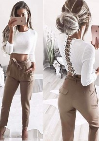 White Midriff Drawstring Round Neck Long Sleeve Fashion Blouse