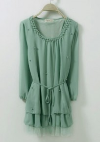 Green Drawstring Pearl Long Sleeve Loose Chiffon Blouse